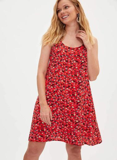 DeFacto Desenli Kısa Elbise Kırmızı